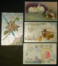 Lot of 4 Antique Vintage Artist Render Bunny Rabbit Easter Postcards 1 Embossed