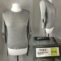New M&S Women Jumper Metallic Grey Shimmer Cut Out Long Sleeves Crew Neck UK 12