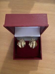 14k Gold Omega Back  Pierced Ribbed Earrings-5.2 Grams