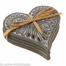 Set of 4 Cabana Grey Vintage Style Love Heart Ceramic Coasters - Fretwork Design