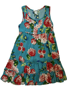 Mia Chica Girls Turquoise Blue Rose Floral Summer Dress Size S 7/8 NWT Nordstrom
