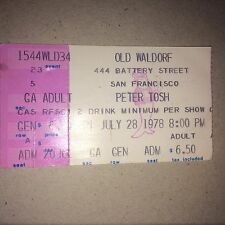 Peter Tosh at the Old Waldorf San Francisco Calif july 28 1978 8:00 ticket stub