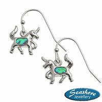 Unicorn Earrings Paua Abalone Shell Womens Silver Fashion Jewellery 10mm Drop
