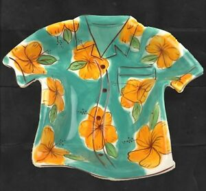 Clay Art Hawaiian hibiscus flower shirt shaped candy nut catch all bowl dish
