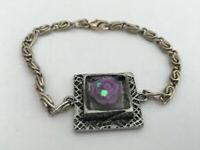 """Champagne Coloured Chain 6.5"""" Bracelet with Purple Rose in Resin"""
