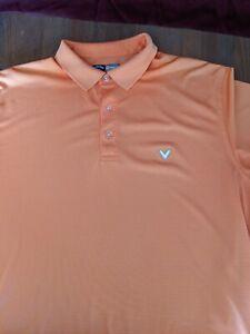 Callaway Opti Dri Men's Golf Polo Shirt Short Sleeve Size Large Orange Top