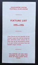Manchester United 1975-1976 Fixture List