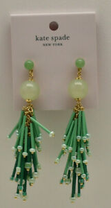 Kate Spade New York Extra Extra Statement Earrings Green Goldtone New!