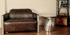 2 Seater Sofa Industrial Aviator Dark Brown Bicast/PU Leather FREE UK Delivery