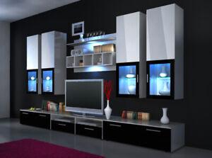 "Wall Unit High Gloss "" Colour Choice "" LED Lighting Shelf New"