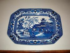 VINTAGE BURLEIGH WARE WILLOW ENGLAND BLUE WILLOW LARGE PLATTER RARE*15 1/2 BY 12