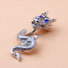 Gothic Split 2-Part Dragon Non-Dangle Belly Ring Blue Gem Eyes 14G YG
