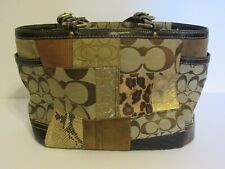 Coach Brown Patchwork Handbag, in excellent condition, it has zippered on top