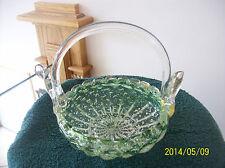 Murano Gold Flake Vtg, Handblown Green Art Glass Handled Basket Made In Italy