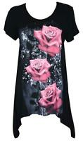 Womens Ladies Plus Size Floral Stretch Glitter Tunic Top 14 16 18 20 22 24 26