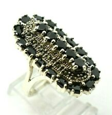 """Long Sapphires Marcasite Sterling Silver 925 Ring 14g 9.5"""" CC970"""