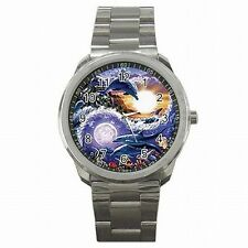 Yin Yang Symbol Dolphin Chinese Taoism Design Stainless Steel Watch