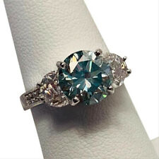Anniversary Ring 925 Sterling Silver Blue 1.57Ct Brilliant Moissanite Engagement