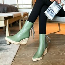 Womens Wedge Heel Comfort Ankle Boots Back Lace Ups Shoes fashion  Pointy Toe