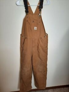 Carhartt Double Knee Canvas Insulated Lined Bib Overalls Youth Boys Large 14