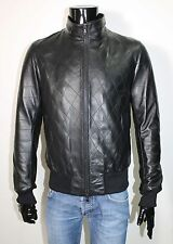 ITALIAN HANDMADE MEN LAMBSKIN LEATHER BOMBER JACKET QUILTED COLOR BLACK SIZE 2XL