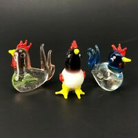 Lampwork Art Glass Chicken Rooster Lot Gift Blue White Green Ornate Miniature
