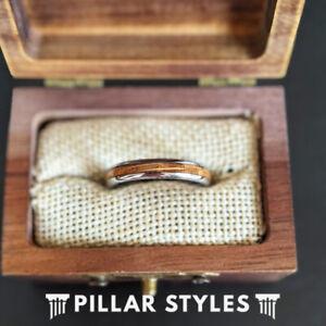4mm Thin Whiskey Barrel Ring Silver Mens Wedding Band Bourbon Wood Tungsten Ring