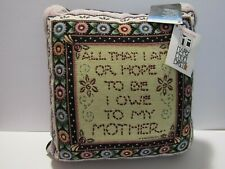 """New w Tags Mary Englebreit """"I Owe To My Mother"""" Decorative Pillow 15"""" Square Nos"""