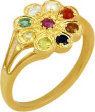 14k Yellow Gold over Natural Gemstones For Astrology Purpose Navaratna Ring