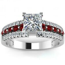 Size 5 6 7 8 9 10 11 Wedding Engagement Ring Ruby Gemstone Propose Bridal Siver