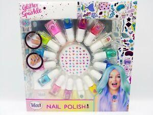 Glitter And Sparkle Girls 16x Mini Nail Polish & Nail Stickers Set Age 6+