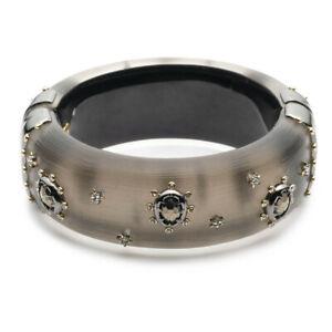 Alexis Bittar Georgian Stone Studded Hinge Bracelet in Warm Grey w Pouch $425