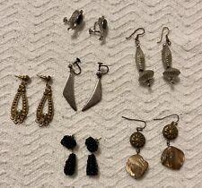 Estate Lot 6 Vintage Earrings Screw Back Pierced, Hans Hansen Sterling Etc