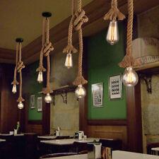 Industrial Vintage Hemp Rope Ceiling Light Pendant Lamp Chandelier Fixture E27