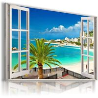 SUMMER BEACH SEA PALMS SUNSET 3D Window View Canvas Wall Art Picture W534 MATAGA