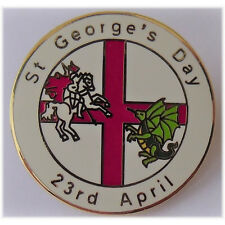 Saint George's day Badge.  Round Enamel St George's Day Lapel Badge
