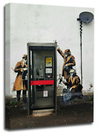Banksy Canvas Wall Art Black White Grey Girl Balloon Telephone Spies Abstract