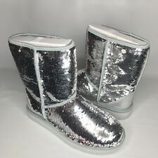 UGG Classic Short Silver Sparkles Sequin Sheepskin Boots Size US 9  Womens