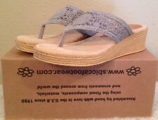 Sbicca Huntington Wedge STONE GRAY Sandal Thong Toe Womens 5 M NEW
