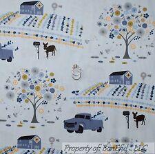 BonEful Fabric FQ Cotton Quilt Blue Farm Barn Flower Tree Donkey Barn Boy Truck