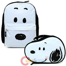 Peanuts Snoopy Big Face Large School Backpack Lunch Bag 2pc Book Bag Set w/ Ear