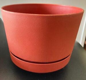 "1960's MCM DURACO 7"" Planter/Flower Pot & Saucer Melamine Earthtone Orange/Rust"