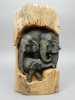 Large Hand Carved  Elephant family carving Teak WOOD wall hanging 15 inches