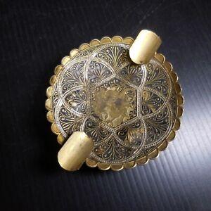 Cendrier métal doré cuivre laiton jaune noir vintage art déco table N7665