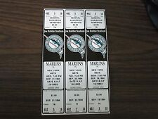 3 Florida Marlins Full Ticket strip From Sep 19,20,21 1994 vs New York Mets