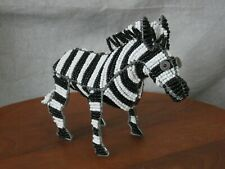 Handcrafted Decorative/Collectible Figurine [African Zebra] - beads - blk/white