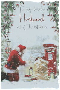 """Husband Christmas Card - Santa Collecting Letters By Postbox With Glitter 9 x 6"""""""