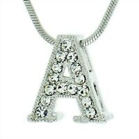 """A Letter Charm Pendant Made With Swarovski Crystal Initial 18"""" Chain Necklace"""