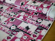 HILCO Baumwoll-Jersey COMICSTRIP, Sterne, Comic Stil, Held, Hero Zone pink, warm