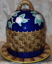 ZRIKE RABBIT PATCH HAND PAINTED CHEESE DOME W LID PINK FLOWERS ON COBALT BLUE